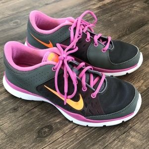 Nike Flex Trainer 3 Grey Orange Pink Sz 8.5